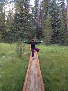 tree pose on a boardwalk