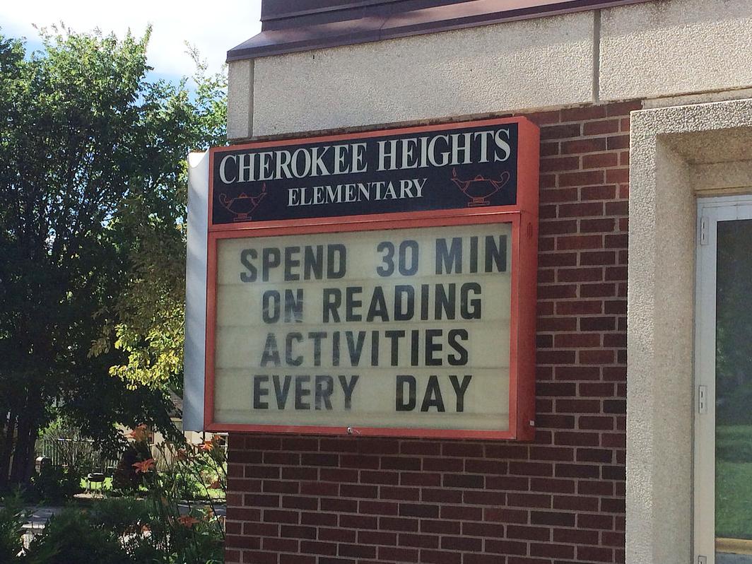 Reading exhortation on school readerboard