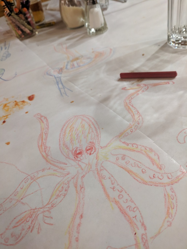 octopus drawing in crayon